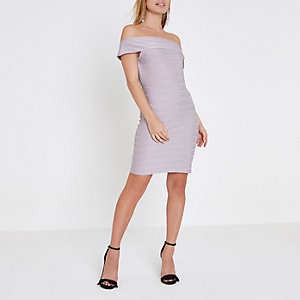 Petite grey bardot bandage bodycon dress