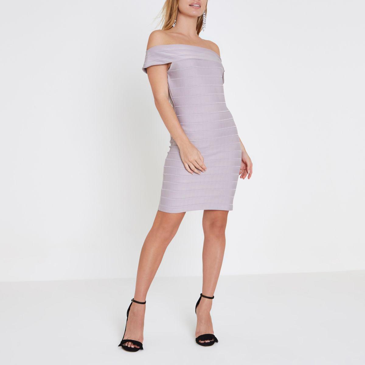 Petite grey bardot bandage bodycon dress