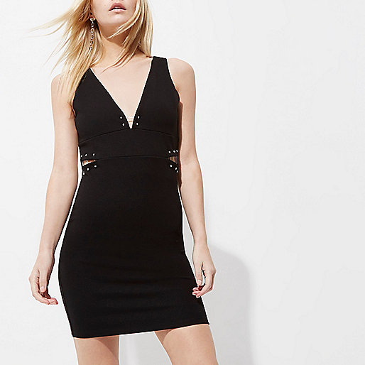 Petite black cut out sleeveless bodycon dress
