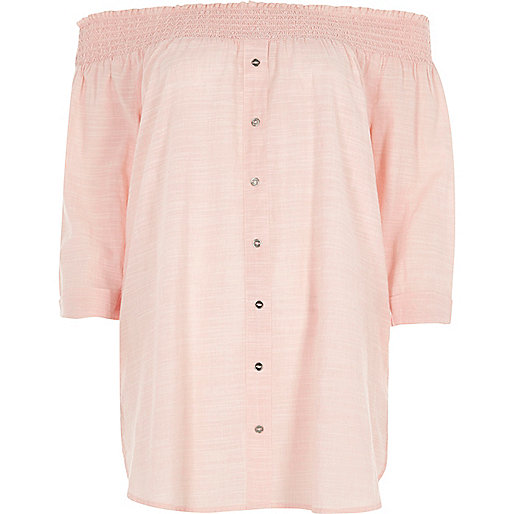 Light pink button front shirred bardot top