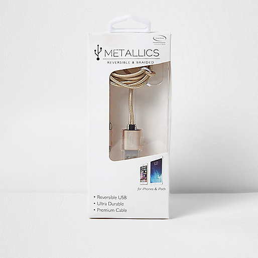Gold tone braided reversible USB cable