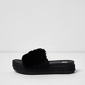 Black fluffy espadrille sliders