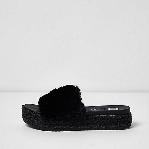 Black fluffy espadrille sliders
