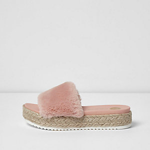 Light pink fluffy espadrille sliders