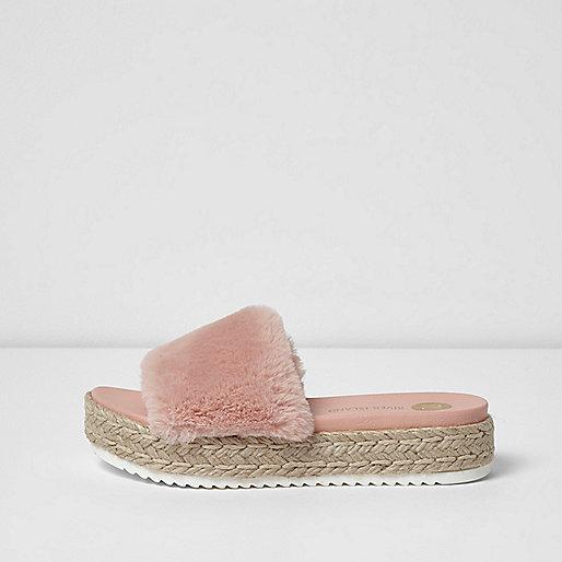 Light pink fluffy espadrille sliders