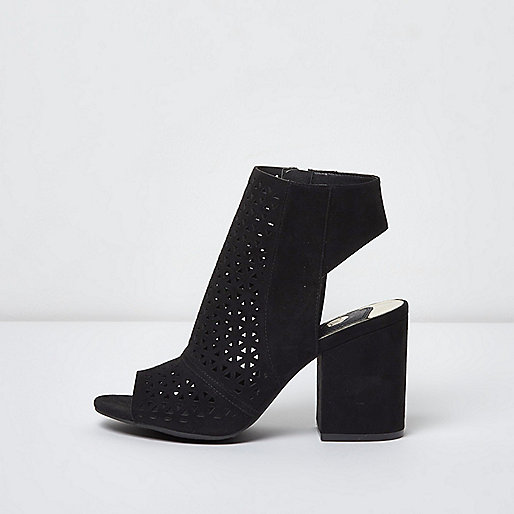 black laser cut peep toe shoe boots boots shoes