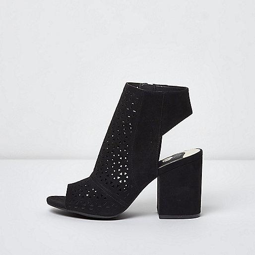 Black laser cut peep toe shoe boots