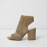 Beige laser cut peep toe shoe boots