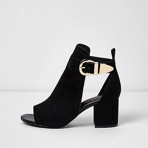 Black buckle block heel shoe boots