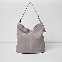 Grey suede eyelet underarm slouch bag