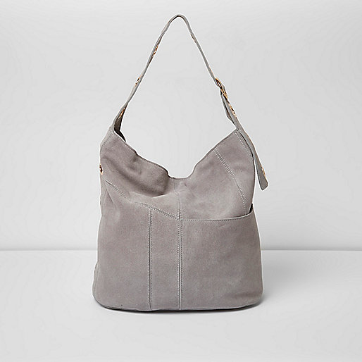 Grey suede eyelet underarm slouch bag