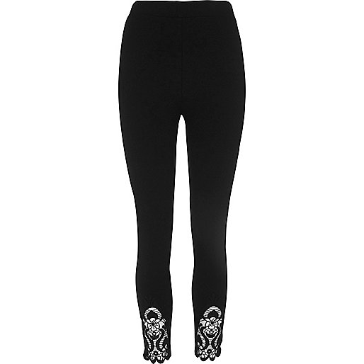 Black crochet hem leggings
