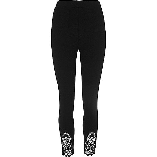 Zwarte legging met gehaakte zoom