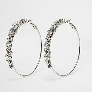 Silver tone rhinestone encrusted hoop earrings