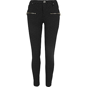 Black polka dot zip front skinny pants