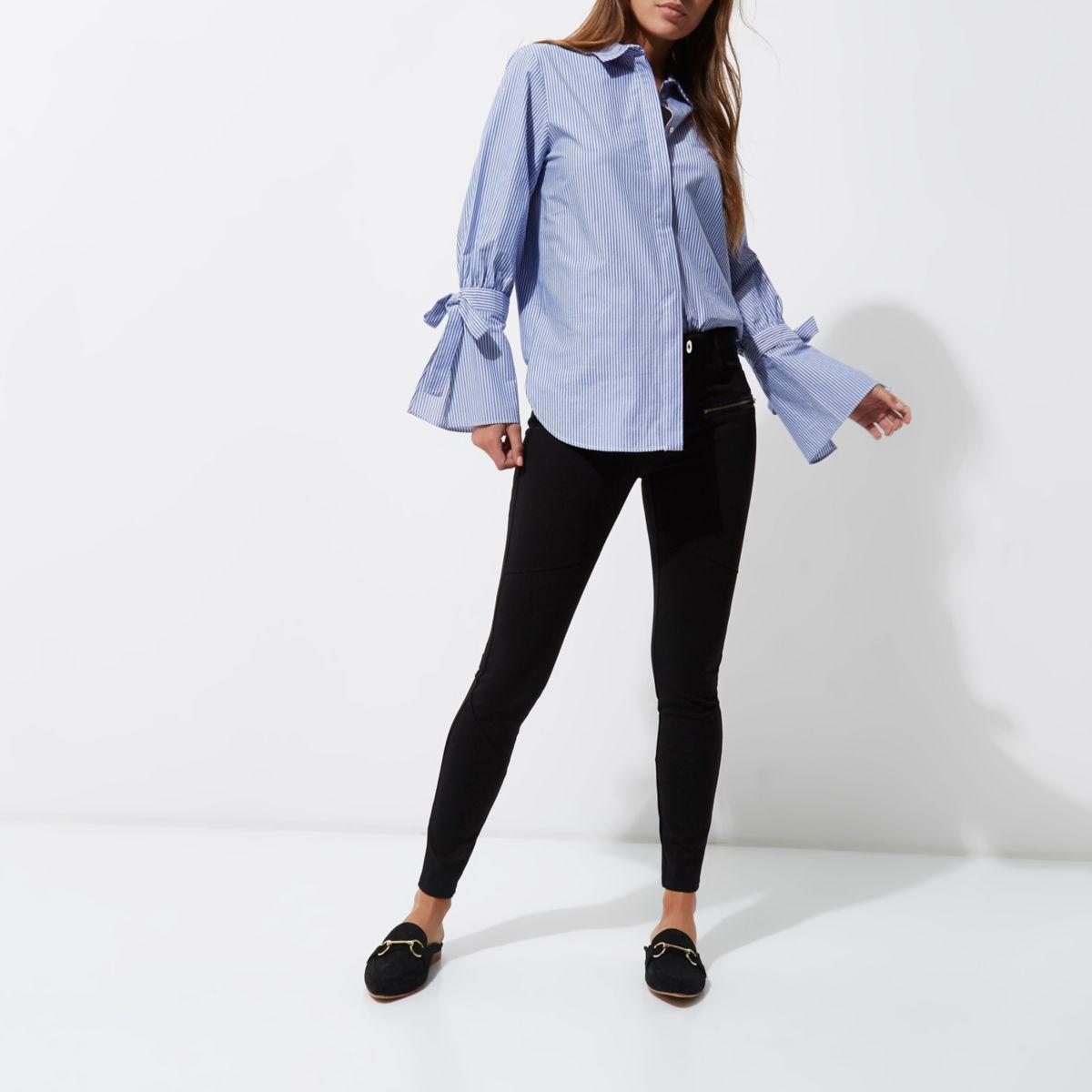 Black zip pocket skinny fit pants