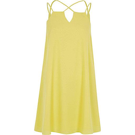 Yellow cross strap slip dress