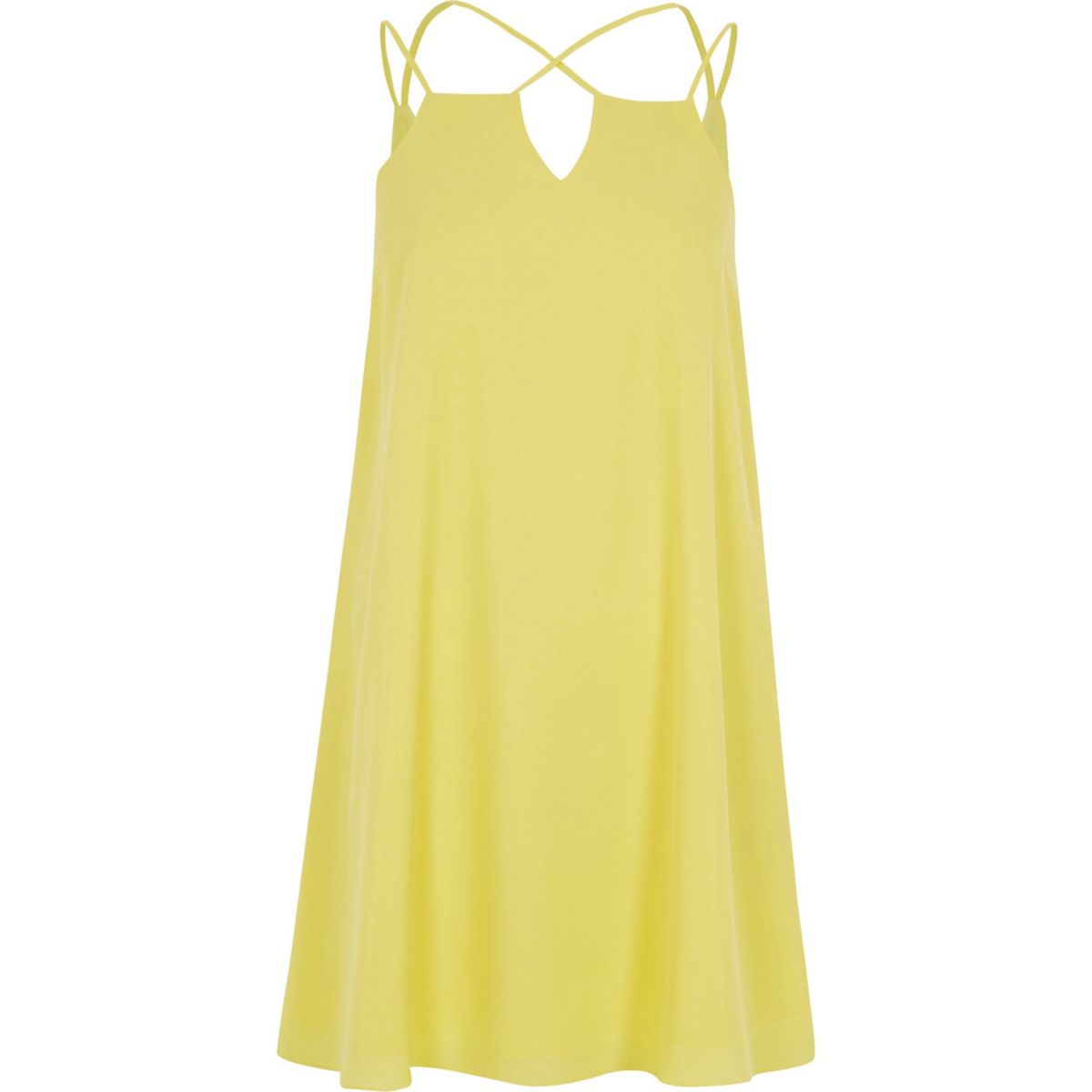Yellow cross strap slip dress