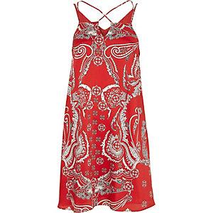 Red paisley print cross strap slip dress