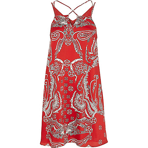Red paisley print cross strap slip dress