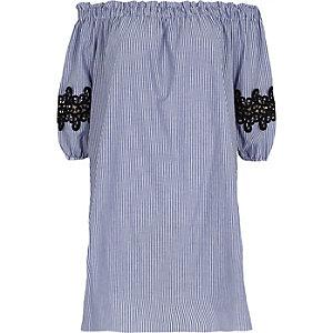 Robe Bardot rayée bleue évasée