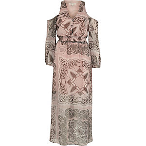 Beige paisley print cold shoulder maxi dress