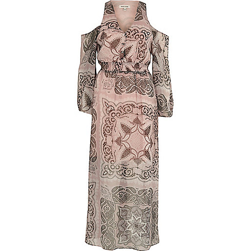 Beige paisley print cold shoulder maxi dress