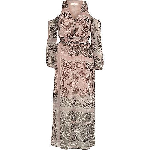 Beige schouderloze maxi-jurk met paisleyprint