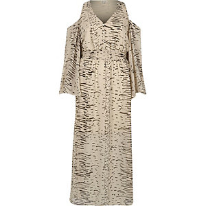 Robe longue imprimée crème épaules nues