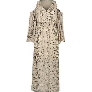 Crème schouderloze maxi-jurk met print