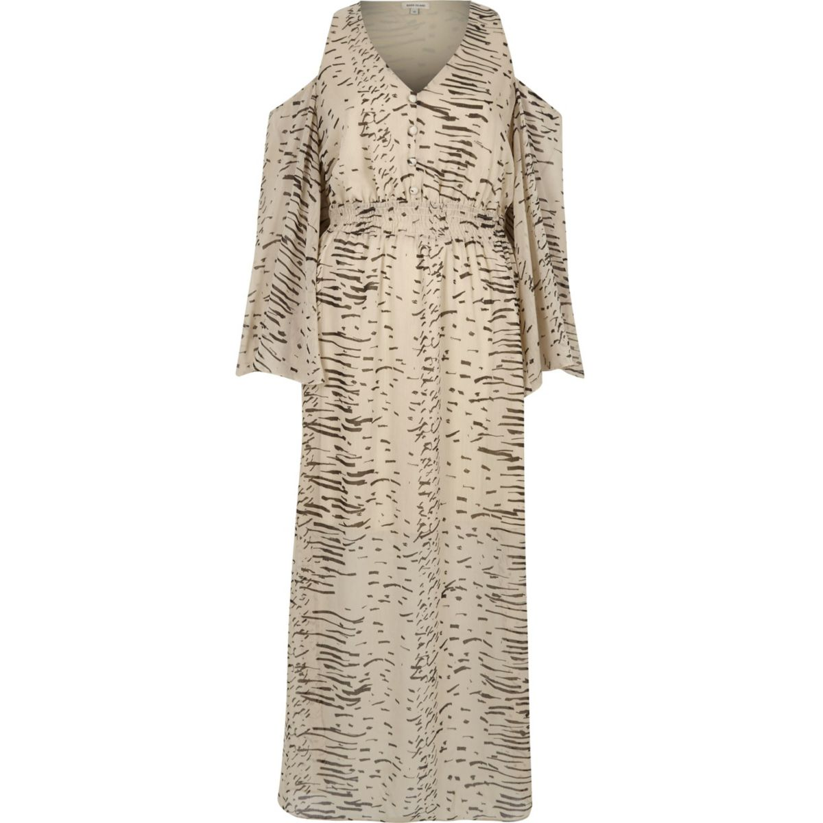 Cream printed cold shoulder maxi dress