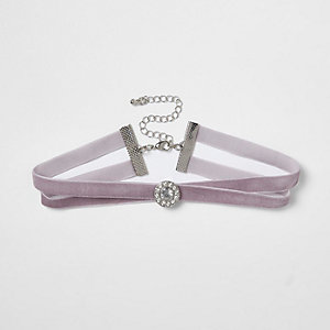 Light purple velvet diamante circle choker