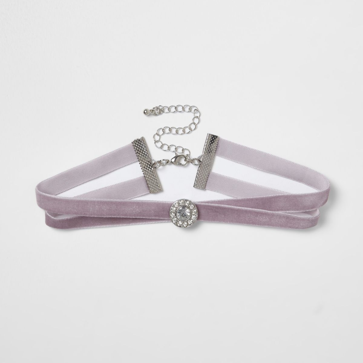 Light purple velvet rhinestone circle choker