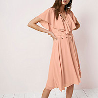 Light pink cape wrap midi dress