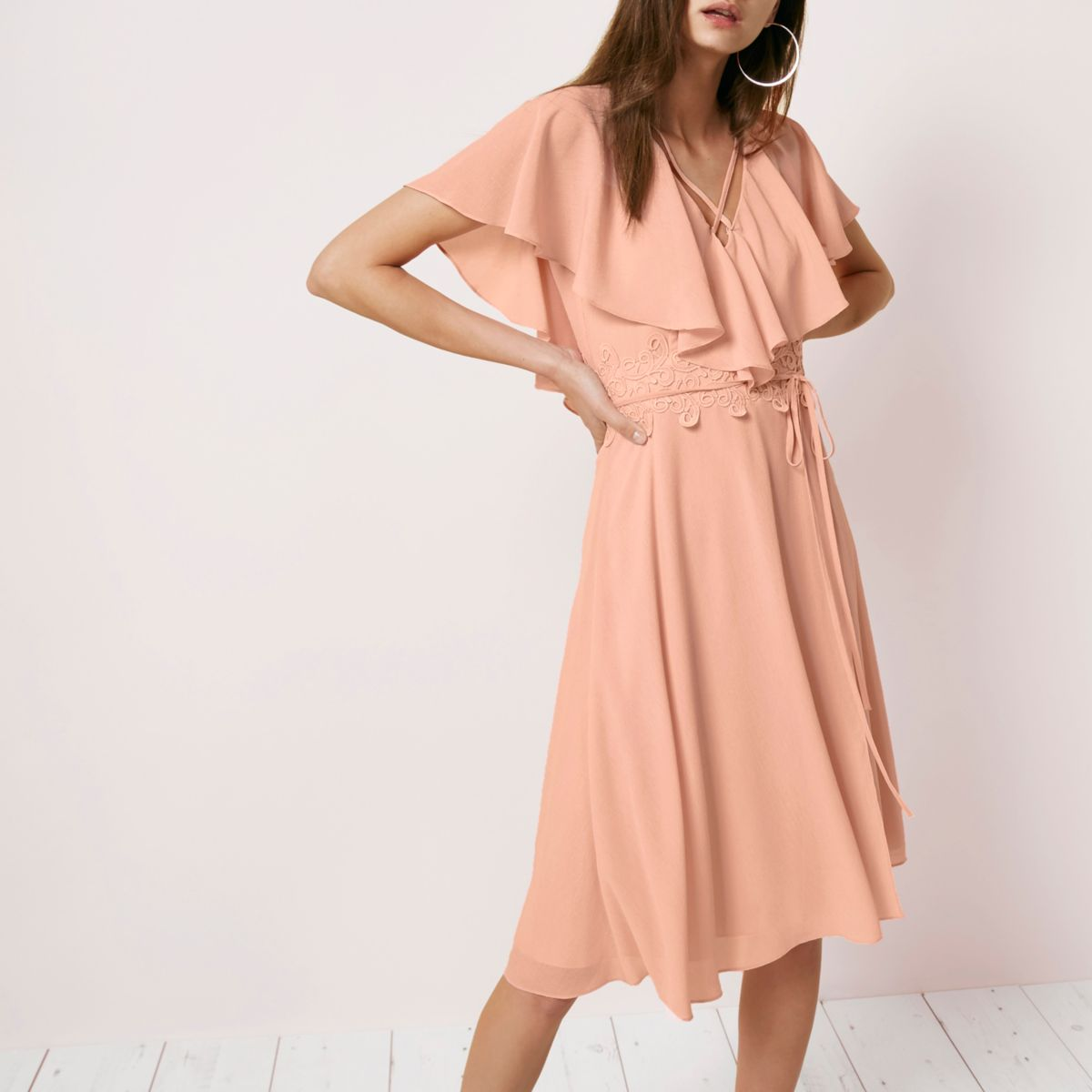 Light pink cape wrap midi dress