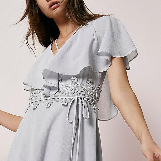 Light grey cape wrap midi dress