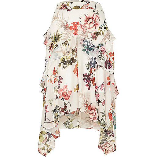 White floral print frill midi skirt