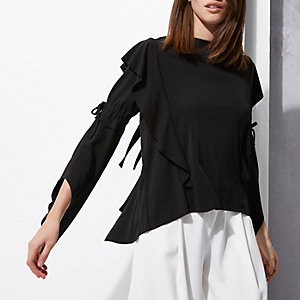 Black RI Studio bell sleeve tie back top
