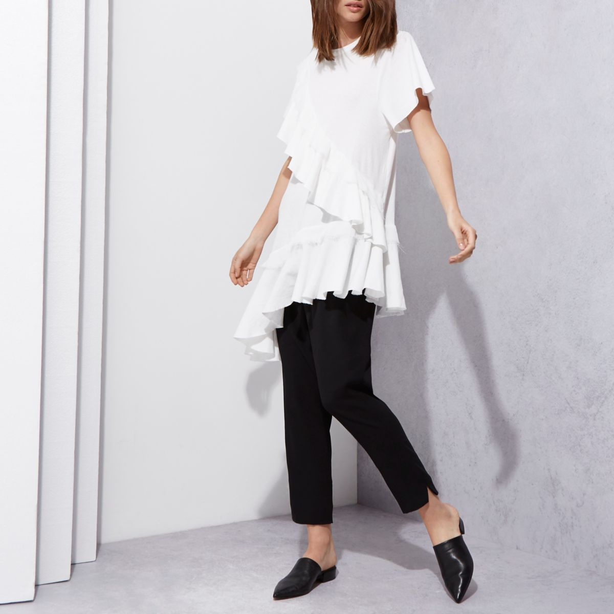 Cream RI Studio frill asymmetric hem T-shirt