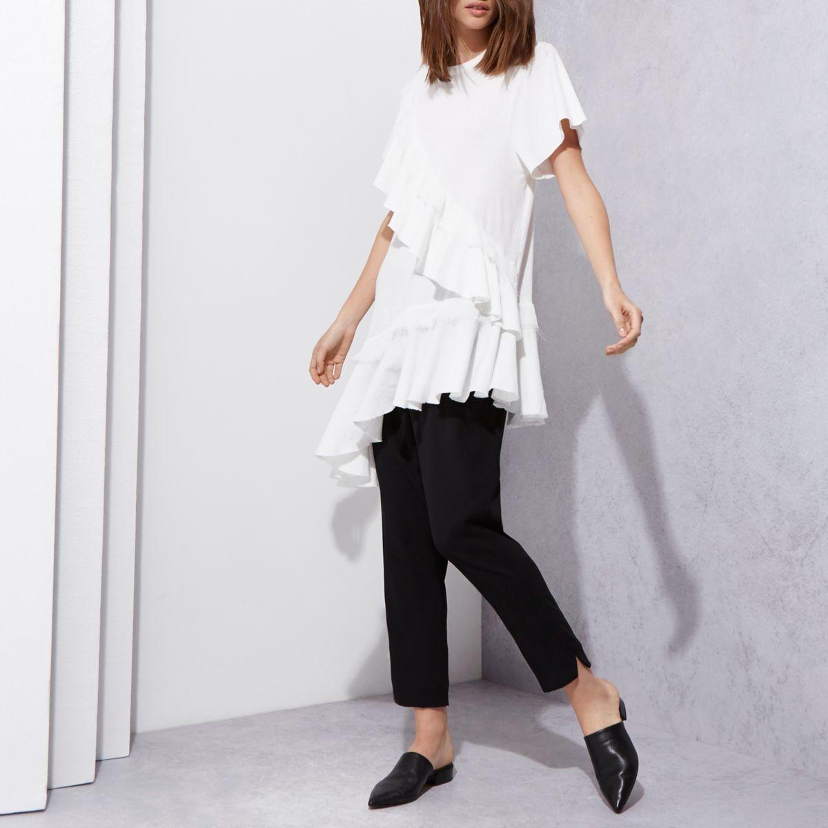 Cream RI Studio frill asymmetric hem T-shirt