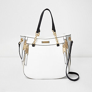 White zip front chain scoop tote bag