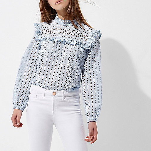 Petite blue broderie high neck frill top