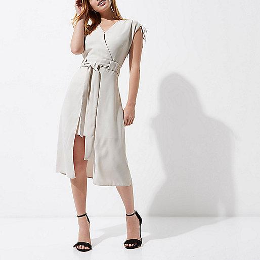 Petite grey tie belt sleeveless midi dress
