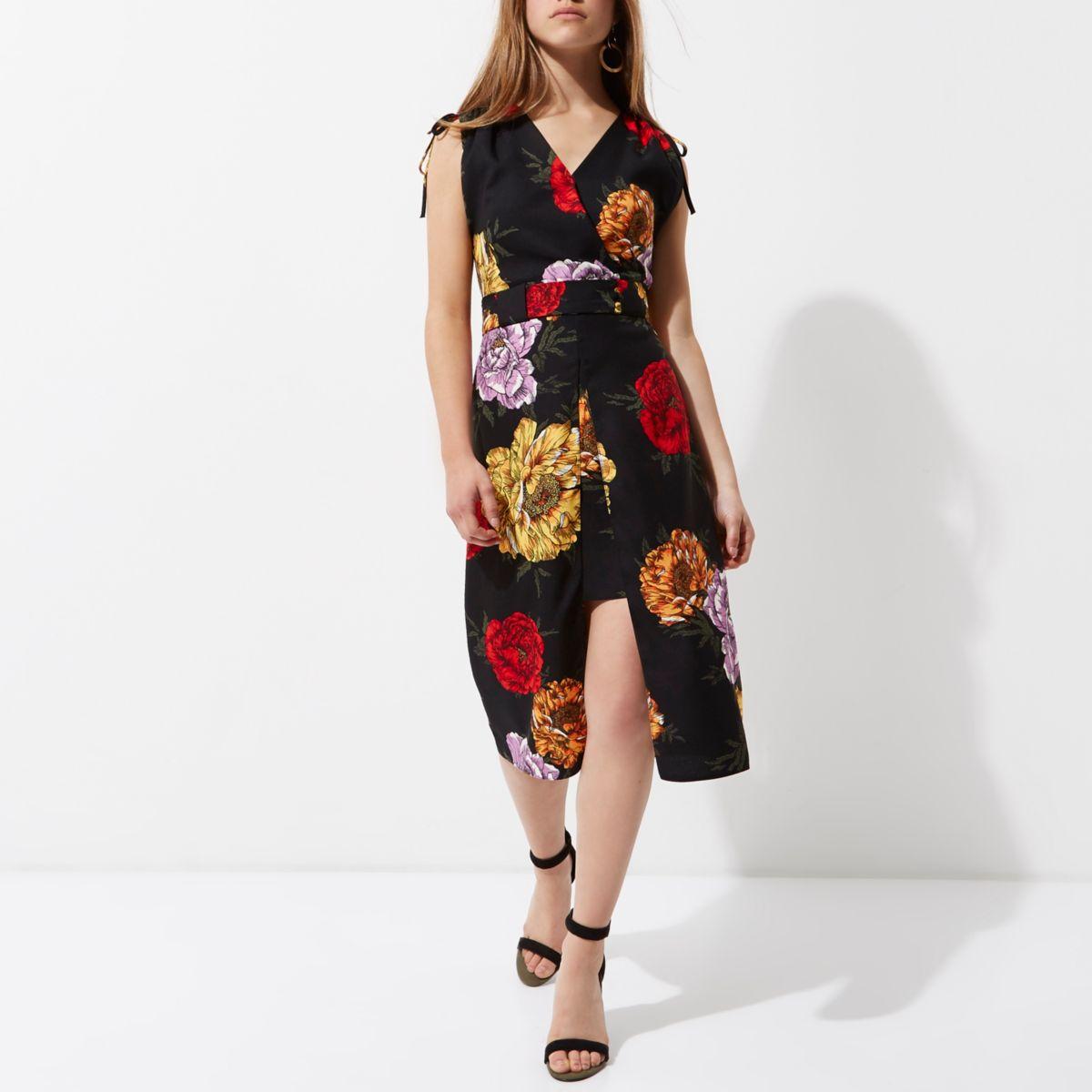 Petite black floral wrap midi dress
