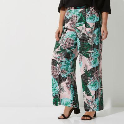 RI Plus Groene broek met wijde pijpen en tropische print