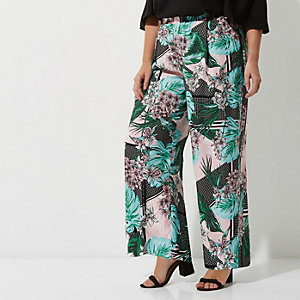 Plus green tropical print wide leg pants