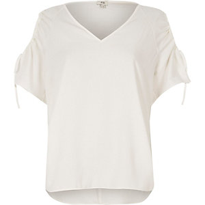 White cold shoulder short sleeve top
