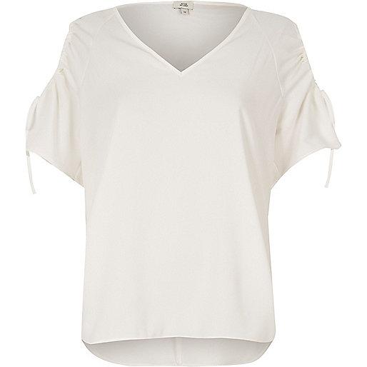White cold shoulder short sleeve top