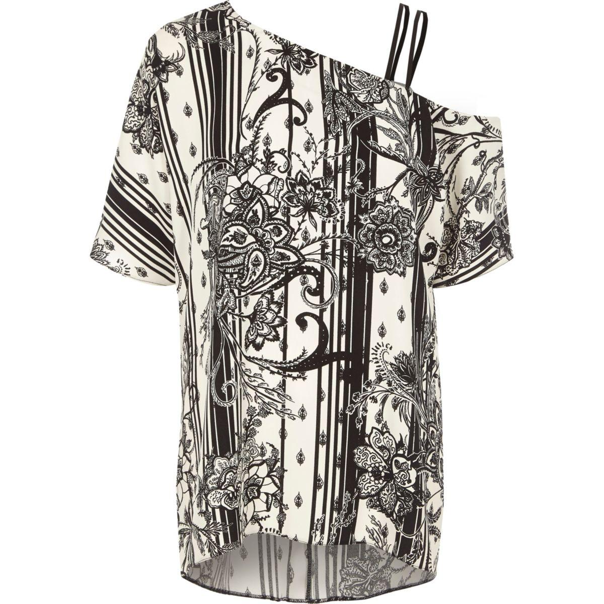 Black floral print one shoulder top