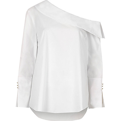 White one shoulder split cuff top